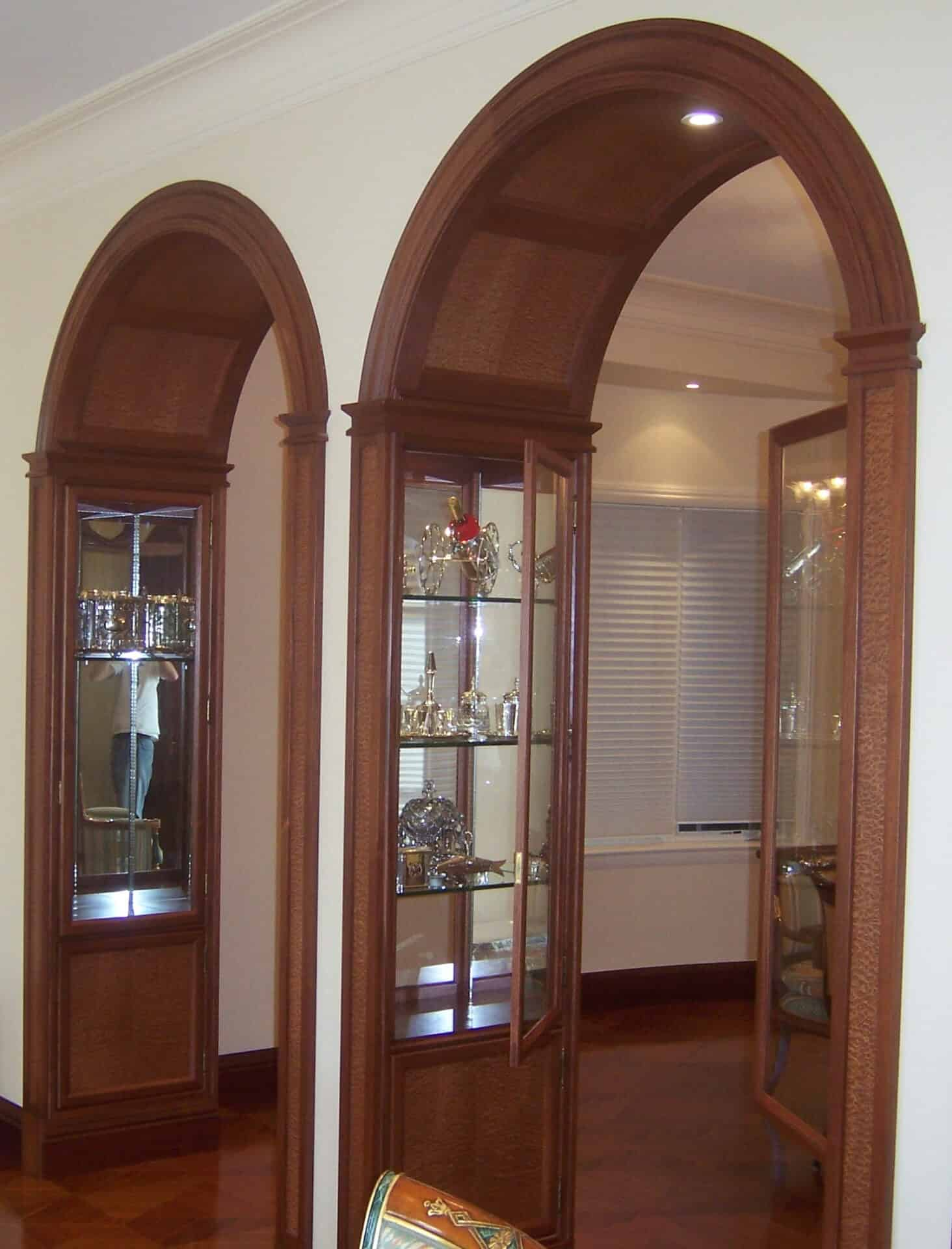 Dark Wood Glass Cabinets